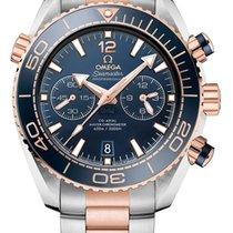 Omega Seamaster Planet Ocean Chronograph Acero y oro 45.5mm Negro Sin cifras