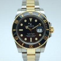 Rolex Submariner Date Ouro/Aço 40mm Preto Sem números