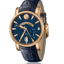 Arnold & Son True Moon Aur roz 46mm Albastru Fara cifre