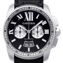 Cartier Calibre de Cartier Chronograph Stahl / Leder W7100060