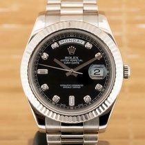 Rolex Bjelo zlato Automatika Crn 41mm rabljen Day-Date II