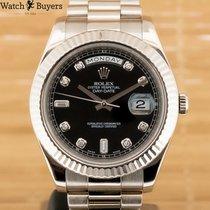 Rolex Day-Date II Aur alb 41mm Negru