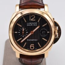 Panerai Or jaune Remontage automatique Noir Arabes 44mm occasion Luminor Marina Automatic
