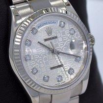 Rolex Day-Date 36 Aur alb 36mm Argint