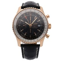 Breitling Rose gold Automatic Black 46mm pre-owned Navitimer World