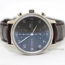 IWC White gold Automatic Grey 40mm pre-owned Portuguese Chronograph