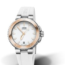 Oris DIVING AQUIS DATE White Dial & Rubber Strap-Rose Bezel