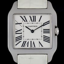 Cartier 18k White Gold Silver Roman Dial Santos Dumont...