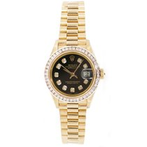 Rolex President 69178 Ladies In 18K Yellow Gold Custom Added...