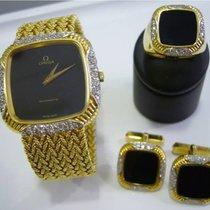 Omega UNIQUE GOLD SET Cufflinks and Signet Ring Diamonds Onyx...