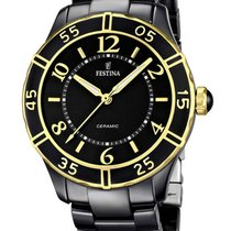 Festina Ceramic Quartz Black 38mm new