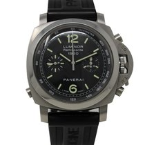 Panerai Luminor 1950 3 Days Chrono Flyback Stal 44mm Czarny Arabskie