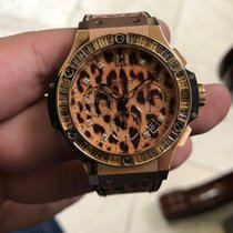 Hublot Big Bang 18k Rose Gold Leopard Sapphire Bezel