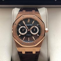 Audemars Piguet Rose gold Automatic Black No numerals 39mm pre-owned Royal Oak Day-Date