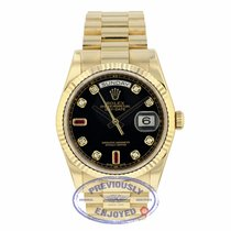 Rolex Day-Date President Yellow Gold Black Diamond and Ruby Dial