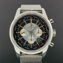 Breitling Transocean Chronograph Unitime pre-owned 46mm Black Steel