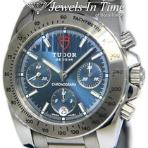 Tudor Steel Automatic Blue 41mm pre-owned Sport Chronograph