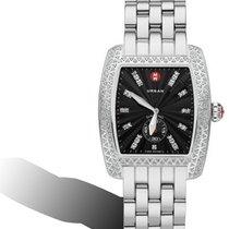 Michele Urban Black dial Diamond set watch on Steel bracelet
