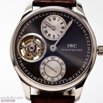 IWC Portuguese Tourbillon pre-owned 43mm Grey Tourbillon Crocodile skin