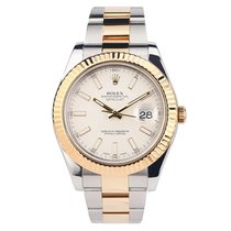 Rolex Yellow gold Automatic White No numerals 41mm pre-owned Datejust II