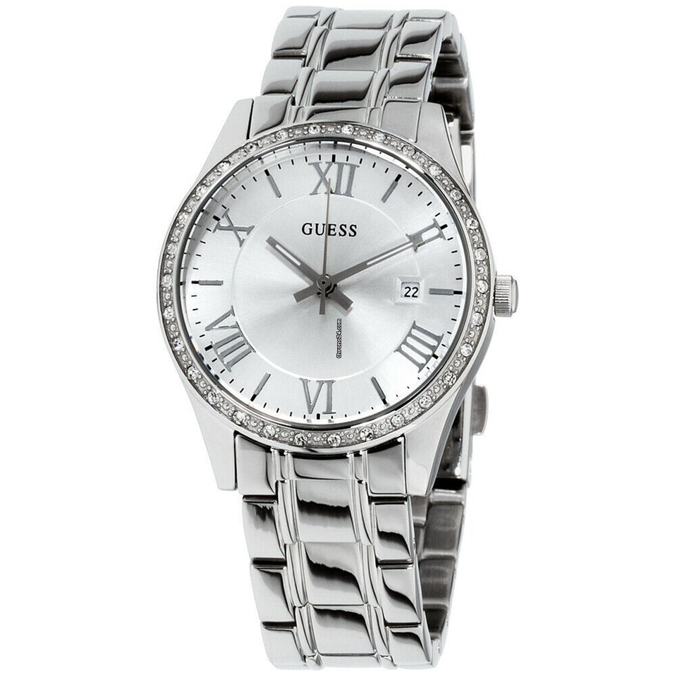 Greenwich Guess Dial W0985l1 Silver Quartz Movement Ladies Watch OZkXiPu