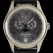 Patek Philippe Annual Calendar pre-owned 39mm Grey Moon phase Date Weekday Month Annual calendar Leather