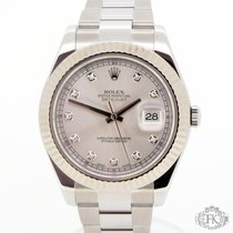 Rolex Datejust II Original Diamond Silver Dial I White Gold Bezel