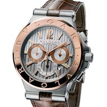 Bulgari DIAGONO Men's Chronograpf Brown Leather Strap Pink...