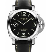 Panerai Luminor Marina 8 Days Сталь Чёрный Aрабские