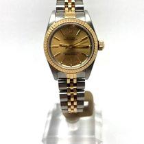 Rolex Oyster Perpetual Acero y oro Champán Sin cifras