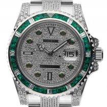 Rolex Submariner Date Custom Stahl Full Diamond 9ct Smaragd...