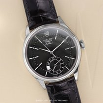 Rolex Cellini Dual Time Oro blanco 39mm Negro