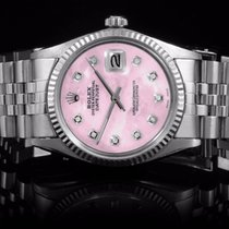 Rolex 16014 SS Men's Datejust with Pink MOP Diamond Dial