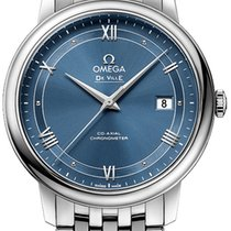 Omega De Ville Prestige Сталь 39.5mm Синий Римские
