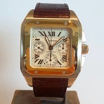 Cartier Santos 100 Gold/Steel 52mm White Roman numerals