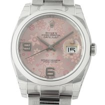 Rolex Datejust Stainless Steel 36mm Pink Floral Dial Oyster...
