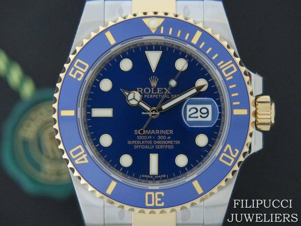 169bda1bedee Rolex Submariner Date Gold/Steel Blue Dial NEW 116613LB FULL STICKERS