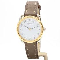 Hermès Arceau Gold/Stahl 25mm Weiß Arabisch