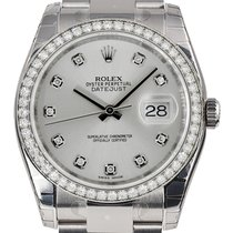 Rolex DATEJUST 36mm 18K White Gold Diamond Bezel Diamond Dial