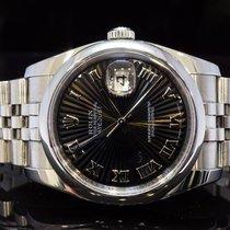 Rolex 2007 36mm Datejust, Black Roman Sunburst Dial, Boxed, MINT