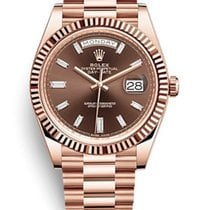 Rolex Day-Date 40 Chocolate Baguette Dial 18K Everest Gold 228235