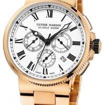 Ulysse Nardin Marine Chronograph Rose gold 43mm White Roman numerals