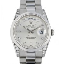 Rolex Platinum Automatic Grey No numerals 36mm pre-owned Day-Date 36