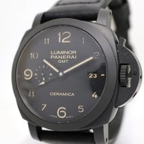 Panerai Luminor 1950 3 Days GMT Automatic pre-owned 44mm Black Date GMT Leather