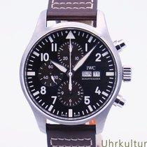 IWC Pilot Chronograph Steel 43mm Brown Arabic numerals