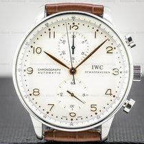 IWC Portuguese Chronograph pre-owned 40mm Silver Chronograph Crocodile skin