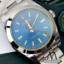 Rolex Oyster Perpetual Mens Milgauss Blue Dial Stai Watch