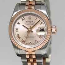 Rolex Datejust 18k Pink Gold & Steel Roman Dial Ladies Watch...