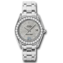 Rolex Lady-Datejust Pearlmaster White gold 34mm Silver Roman numerals