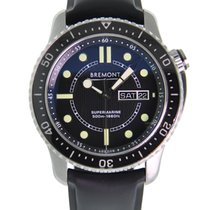 Bremont Supermarine Stainless Steel Black Dial On Black Rubber...